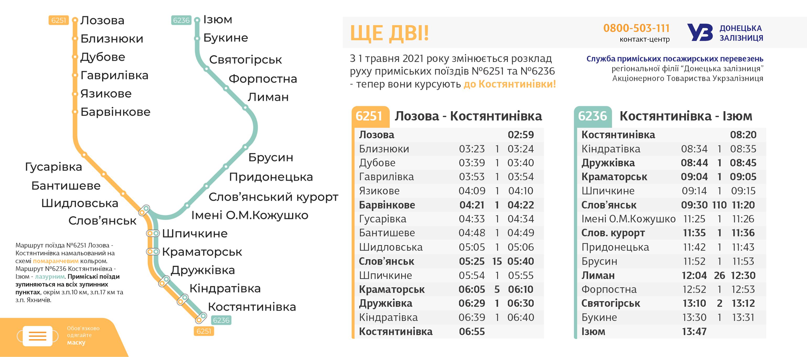 Продовжили маршрут: через Харківську область будуть ходити ще дві електрички до Костянтинівки фото